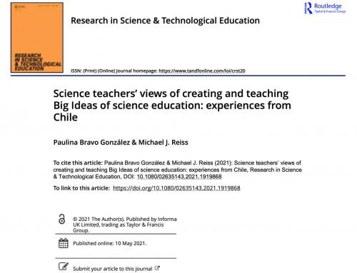 Las opiniones de los profesores de ciencias sobre la creación y la enseñanza de grandes ideas de Educación científica